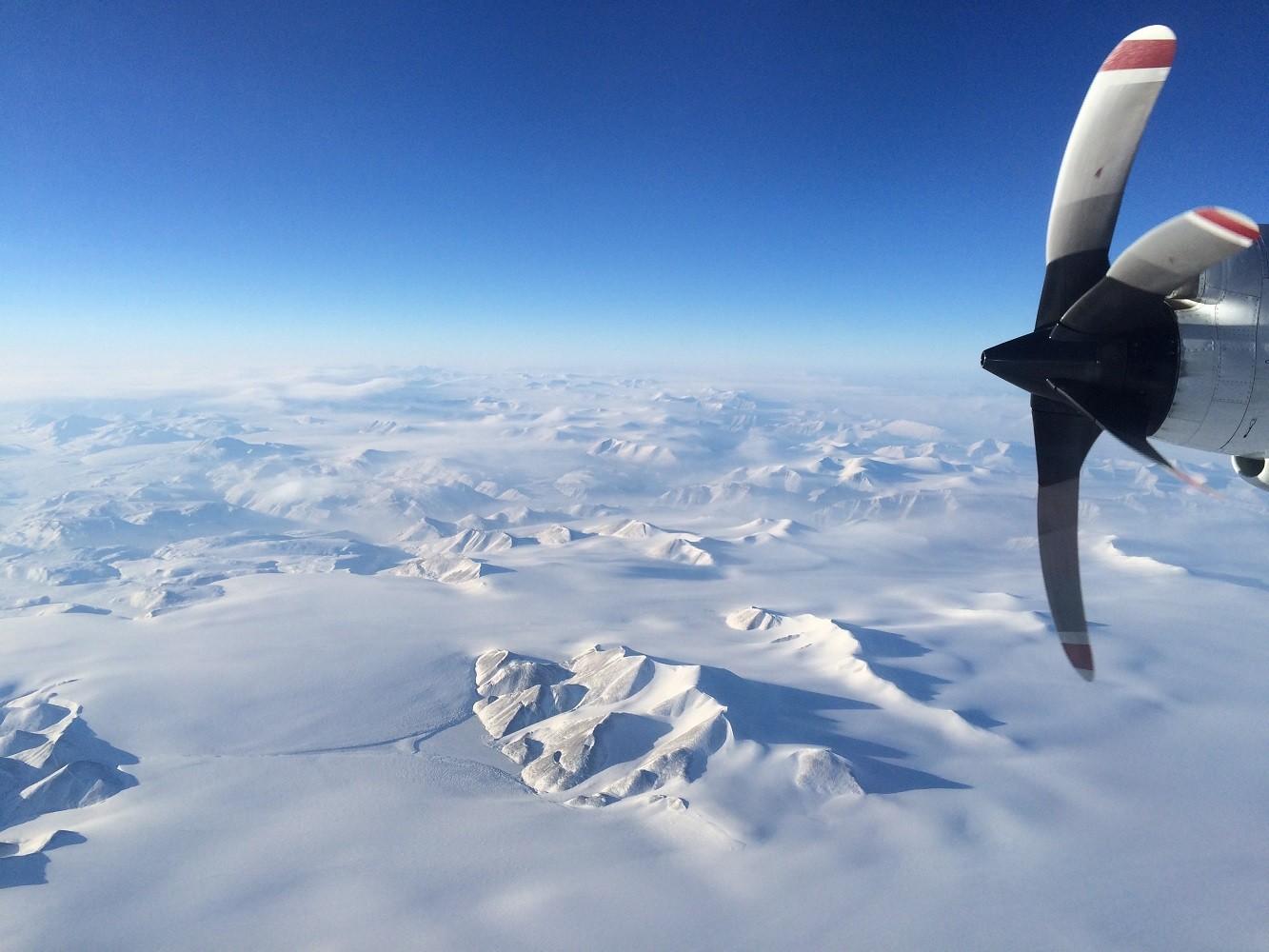 Greenland snowy mountains from NASA's P3. Photo: Caitlin Locke (LDEO)